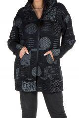 Sweat grande taille long à capuche Noir avec différents imprimés originaux Maelle 299173