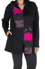 Sweat grande taille long à capuche Rose imprimé et féminin Maé 299153