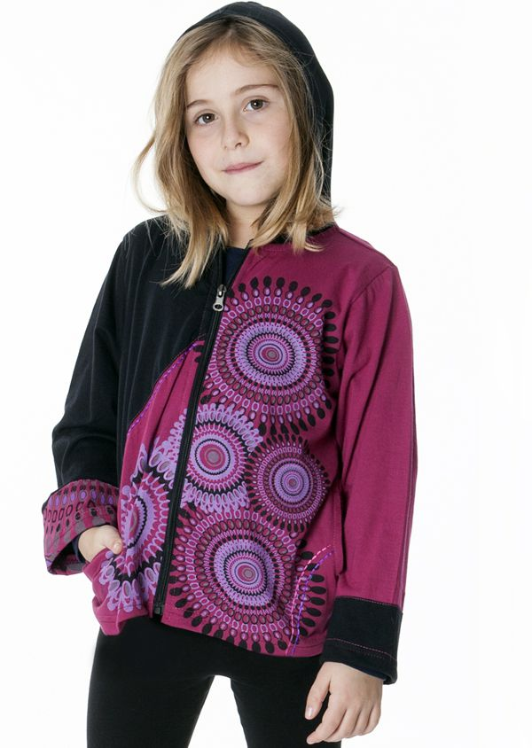 Sweat imprimé ethnique avec capuche pour enfant 287452