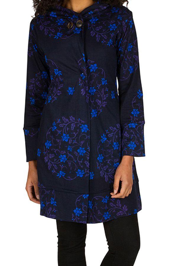 Sweat long à capuche hivers Bleu à imprimés fleuris et originaux Justine 298962