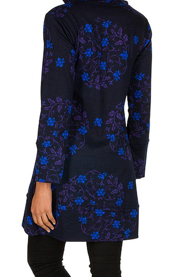 Sweat long à capuche hivers Bleu à imprimés fleuris et originaux Justine 298964