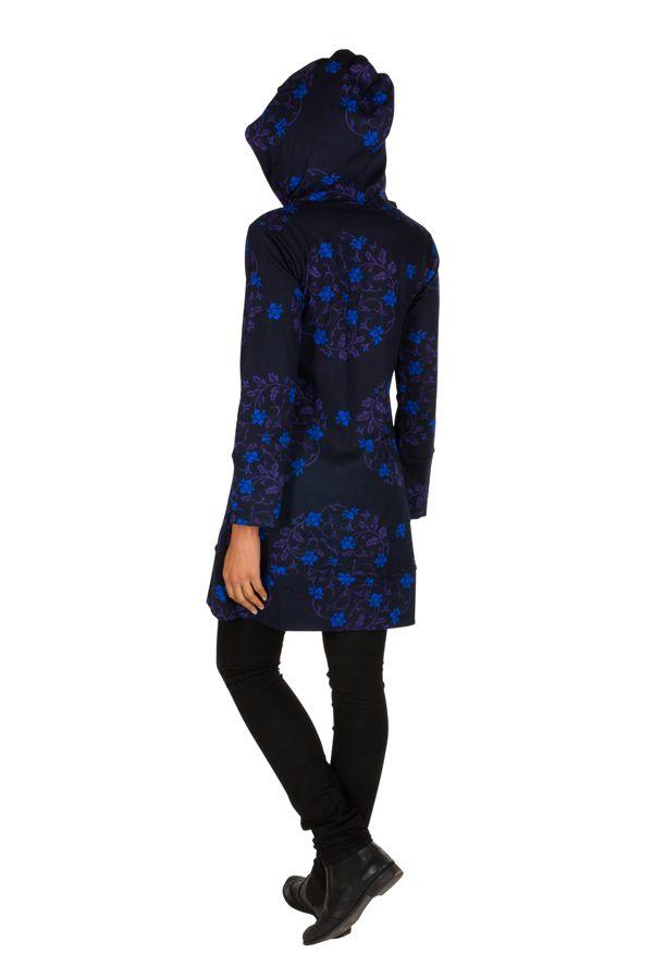 Sweat long à capuche hivers Bleu à imprimés fleuris et originaux Justine
