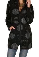 Sweat long à capuche hivers Noir imprimé et tendance Johanna 298902
