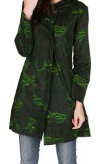 Sweat long à capuche hivers Vert imprimé et tendance Alma 298975