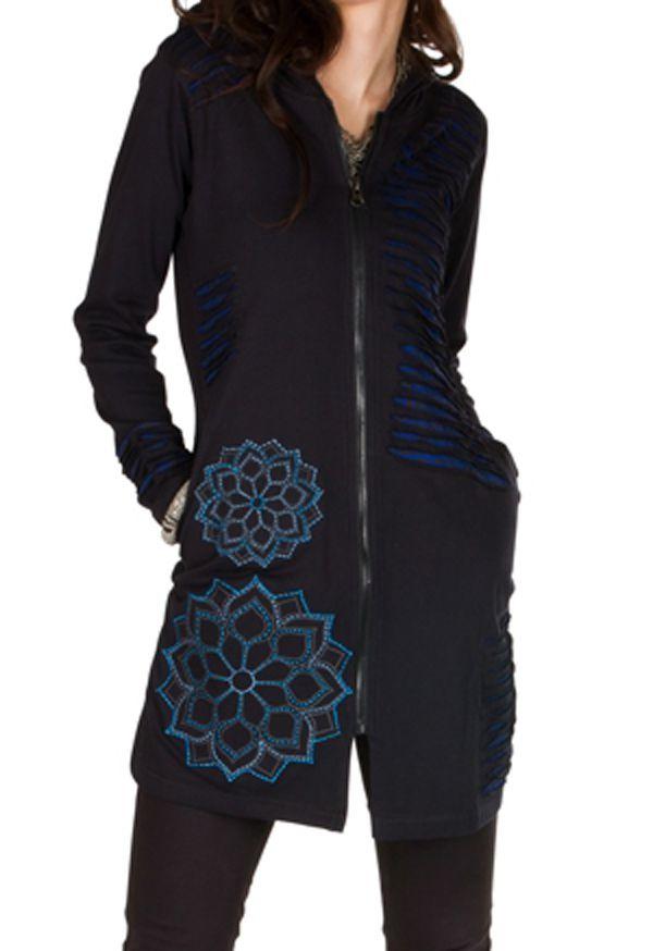 Sweat long femme Bleu effet lacéré et motifs tendance Chakir 301426