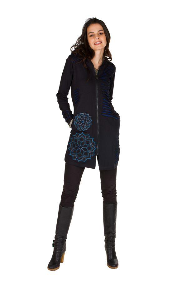 Sweat long femme Bleu effet lacéré et motifs tendance Chakir 301431