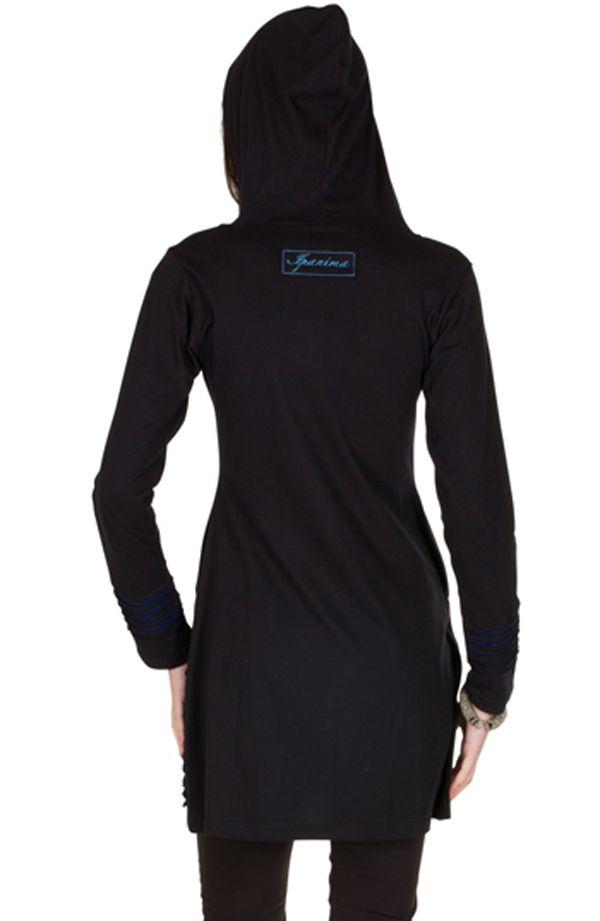 Sweat long femme Bleu effet lacéré et motifs tendance Chakir 301432