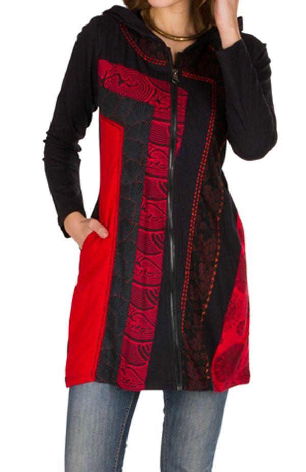 Sweat long femme Rouge avec imprimés asymétriques et poches Indania 301413