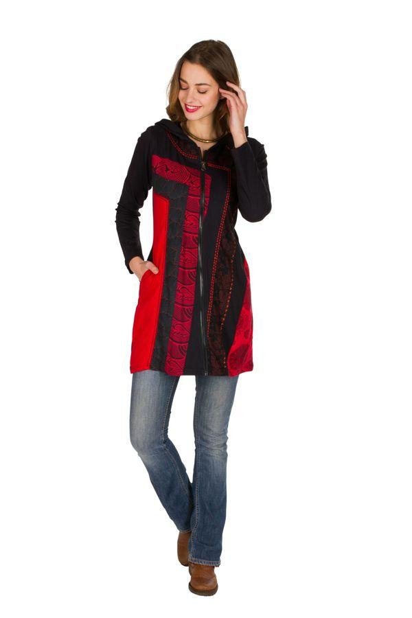 Sweat long femme Rouge avec imprimés asymétriques et poches Indania 301414