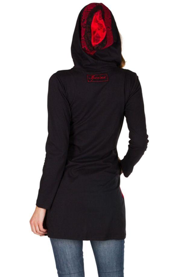 Sweat long femme Rouge avec imprimés asymétriques et poches Indania 301415