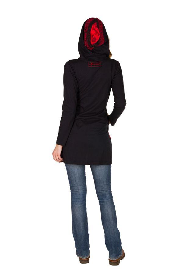 Sweat long femme Rouge avec imprimés asymétriques et poches Indania 301416
