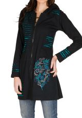 Sweat long hivers Turquoise à capuche ethnique et imprimé Dania 298706