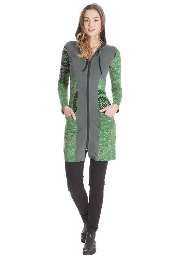 Sweat long pour femme à capuche et bicolore Aveline 285564