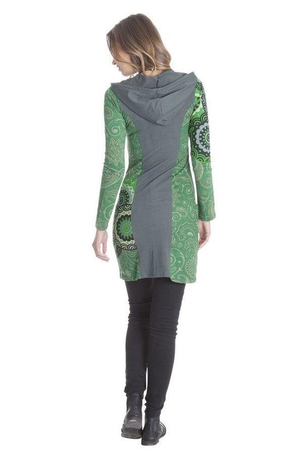 Sweat long pour femme à capuche et bicolore Aveline 285565