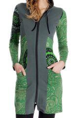 Sweat long pour femme à capuche et bicolore Aveline 286810