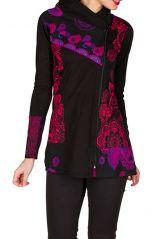 Sweat long pour femme hivers Noir imprimé coloré et original Layna 298573