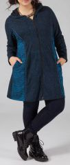Sweat mi-long zippé Grande taille et Ethnique Ianis Bleu 274789