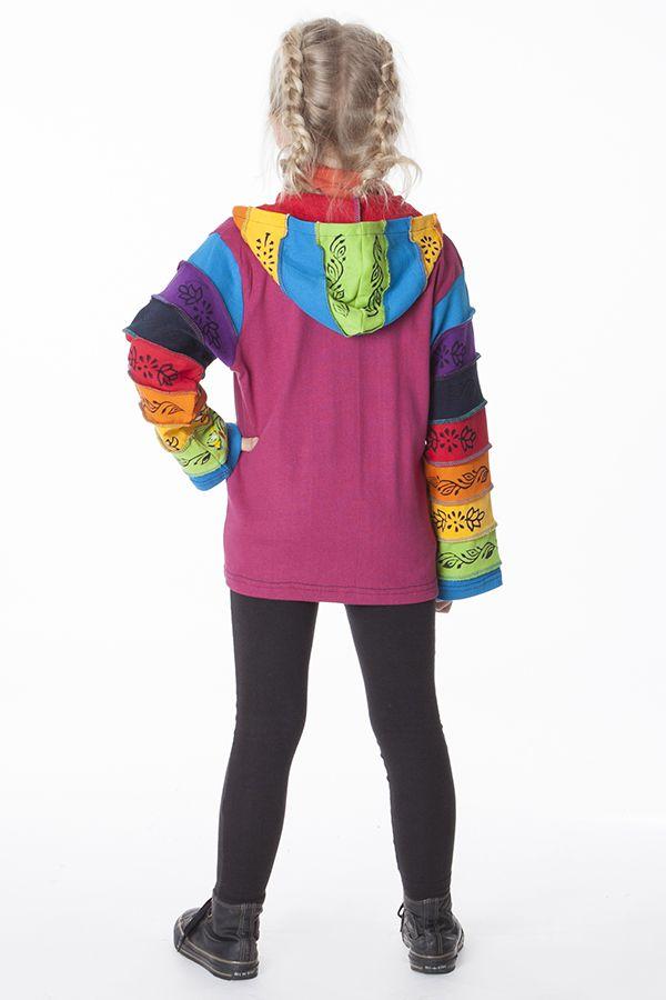 Sweat multicolore à fermeture zippée pour enfant 287474
