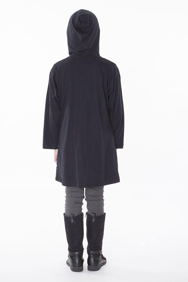 Sweat noir à capuche et femeture zippée pour enfant 287485
