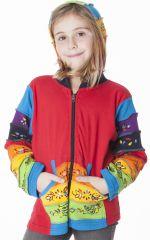 Sweat rouge zippé avec motifs colorés et peints à la main 287480