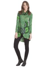 Sweat-shirt femme long et coloré de couleur verte Amaryllis 285553