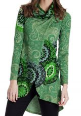Sweat-shirt femme long et coloré de couleur verte Amaryllis 286814