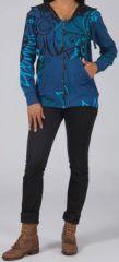 Sweat zippé à capuche Ethnique et Original Gurvan Bleu 274748