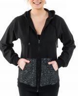 Sweat zippé à capuche noir et gris pour femme doublé polaire Myran 305491