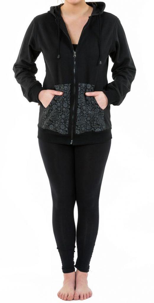 Sweat zippé à capuche noir et gris pour femme doublé polaire Myran 305492