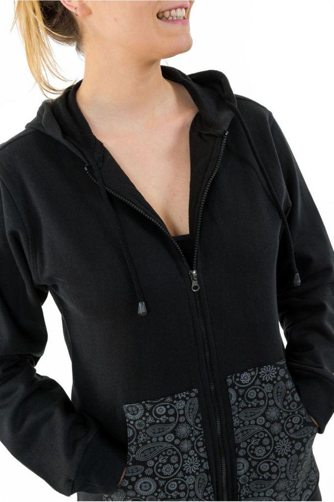 Sweat zippé à capuche noir et gris pour femme doublé polaire Myran 305493