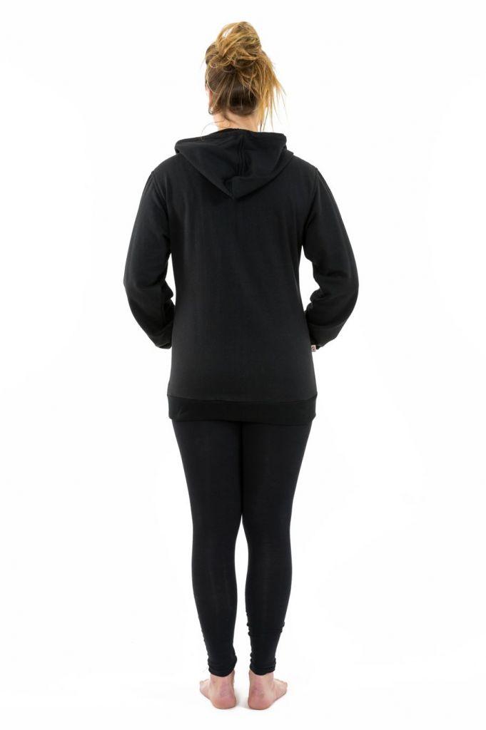 Sweat zippé à capuche noir et gris pour femme doublé polaire Myran 305494