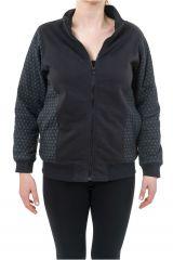 Sweat zippé veste femme en coton doublée de polaire chaude Zya 305504