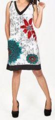 Sympathique robe courte d'été sans manches - ethnique - Blanche - Flavia 272065