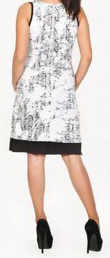 Sympathique robe courte d'été sans manches - ethnique - Blanche - Flavia 272066