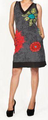 Sympathique robe courte d'été sans manches - ethnique - Noire - Flavia 272071
