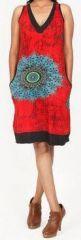 Sympathique robe courte d'été sans manches - ethnique - Rouge - Flavia 272067