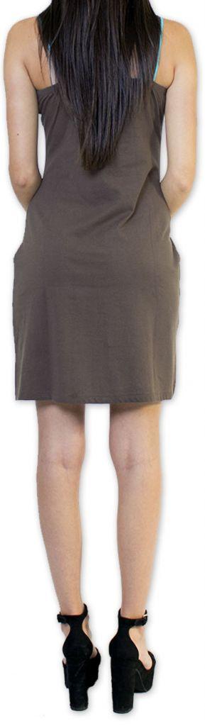 Sympathique robe courte ethnique et colorée Grise Kamélia 273297