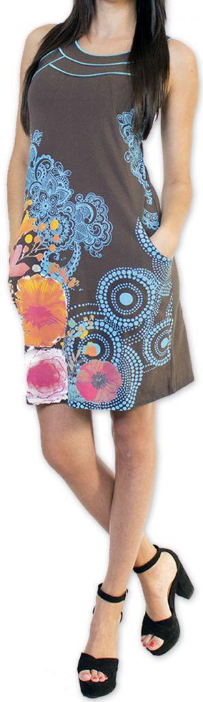 Sympathique robe courte ethnique et colorée Grise Kamélia 273298