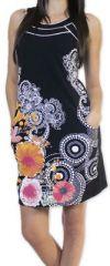 Sympathique robe courte ethnique et colorée Noire Kamélia 273292