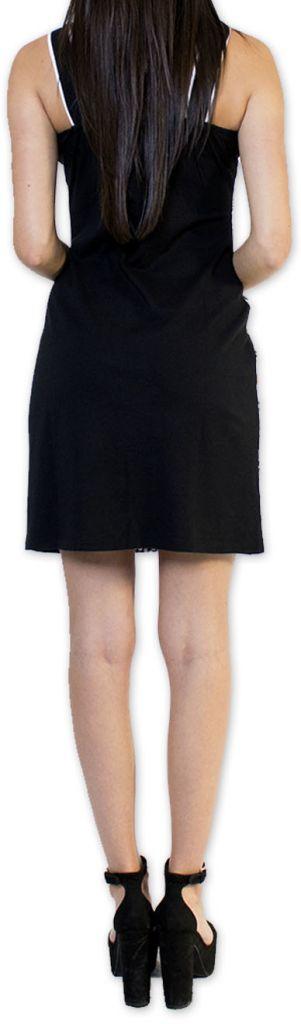 Sympathique robe courte ethnique et colorée Noire Kamélia 273293