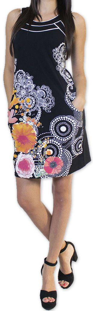 Sympathique robe courte ethnique et colorée Noire Kamélia 273294