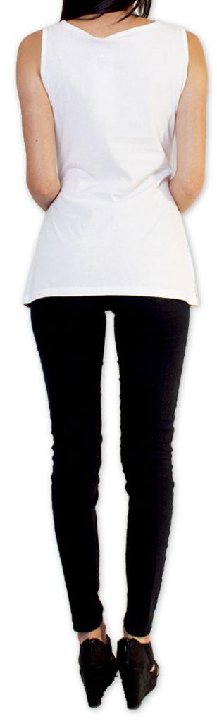 Sympathique Top/Débardeur femme imprimé et original Blanc Mahé 273600