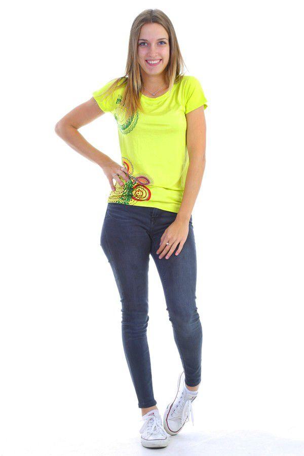 T-shirt à manches courtes avec imprimé coloré anis Moon 304410