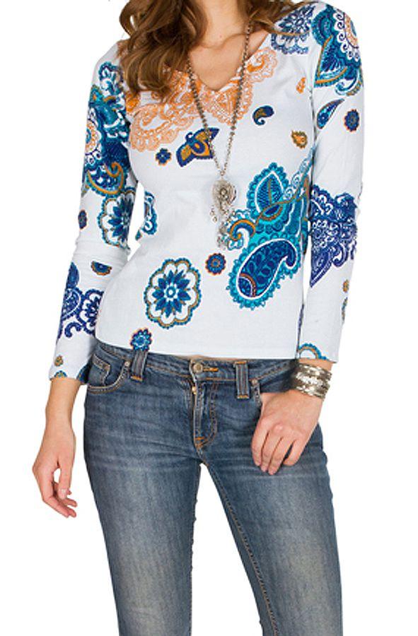 T-Shirt à manches longues Blanc imprimé et élégant Marina 299401
