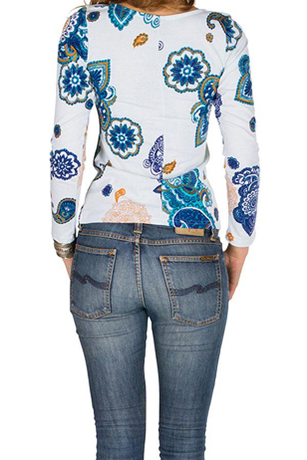 T-Shirt à manches longues Blanc imprimé et élégant Marina 299403