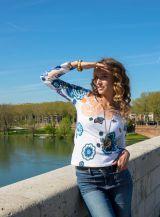 T-Shirt à manches longues Blanc imprimé et élégant Marina 299406