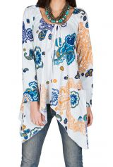T-Shirt à manches longues Bleu évasé avec poches et jolis motifs Joy 299323