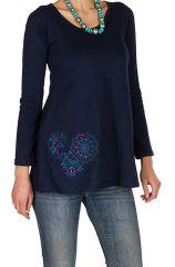 T-Shirt à manches longues Bleu féminin à col rond Abbie 299270