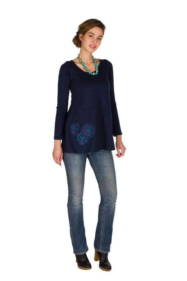 T-Shirt à manches longues Bleu féminin à col rond Abbie 299271