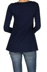 T-Shirt à manches longues Bleu féminin à col rond Abbie 299272